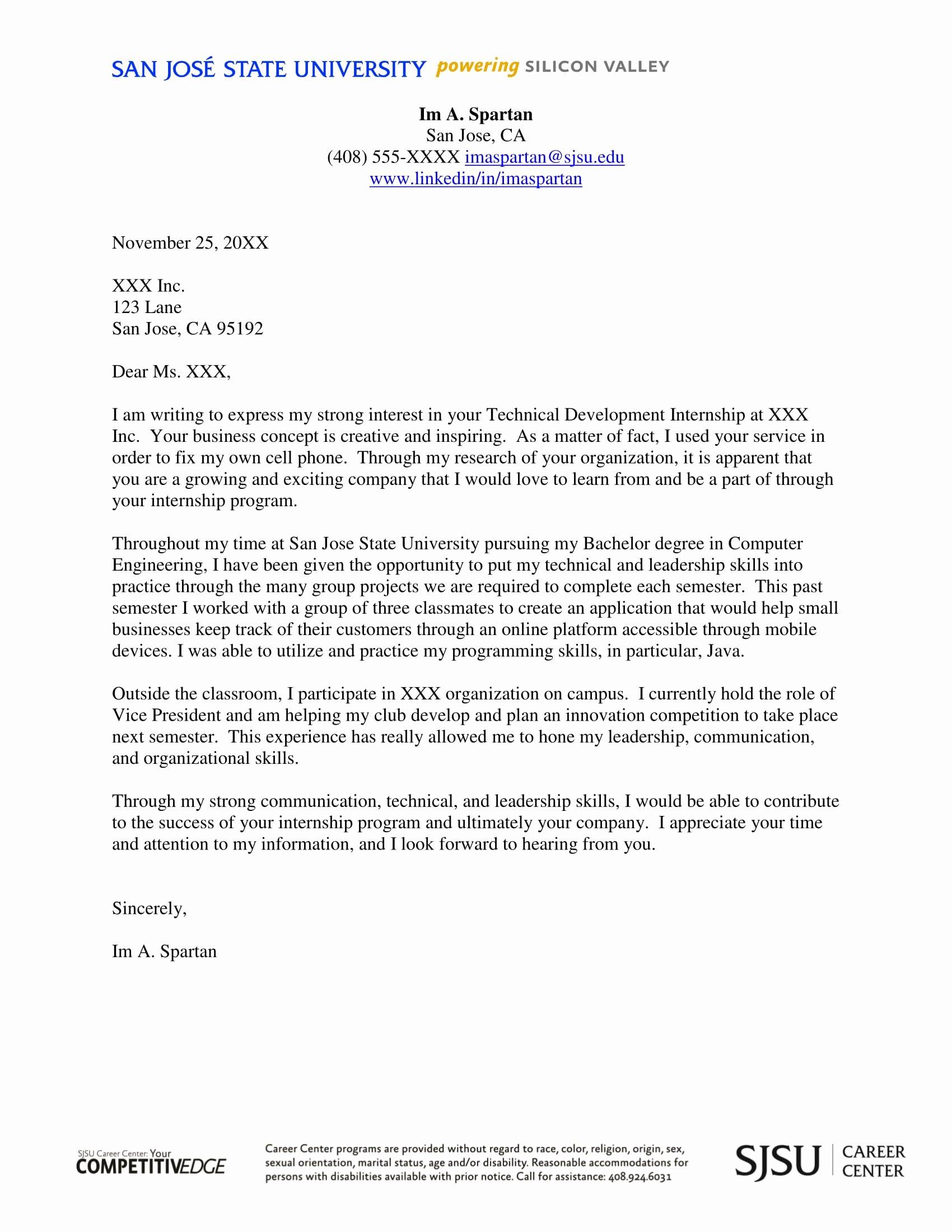 Internship Cover Letter Sample Fresh 16 Best Cover Letter Samples for Internship Wisestep