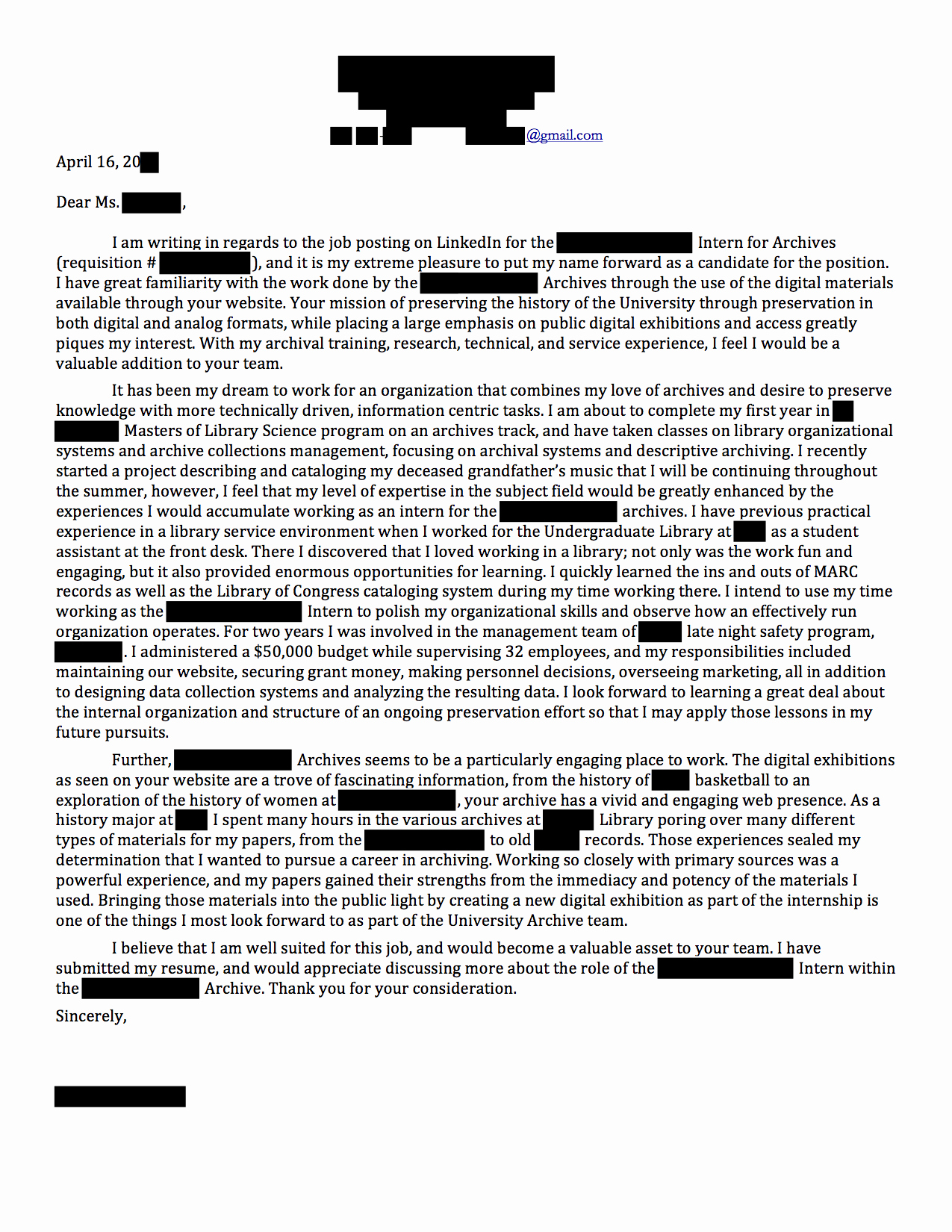 Internship Cover Letter Sample Lovely Internship