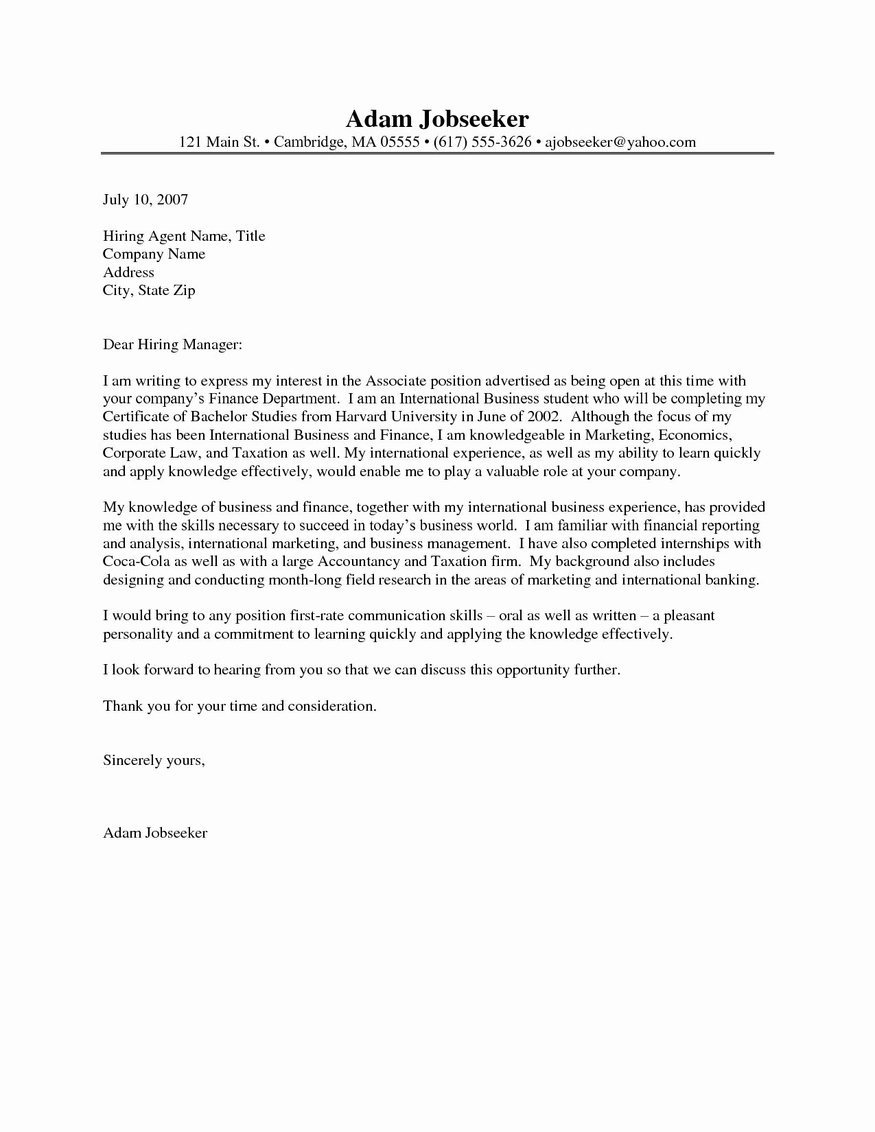 Internship Cover Letter Sample New Example Cover Letter for Internship