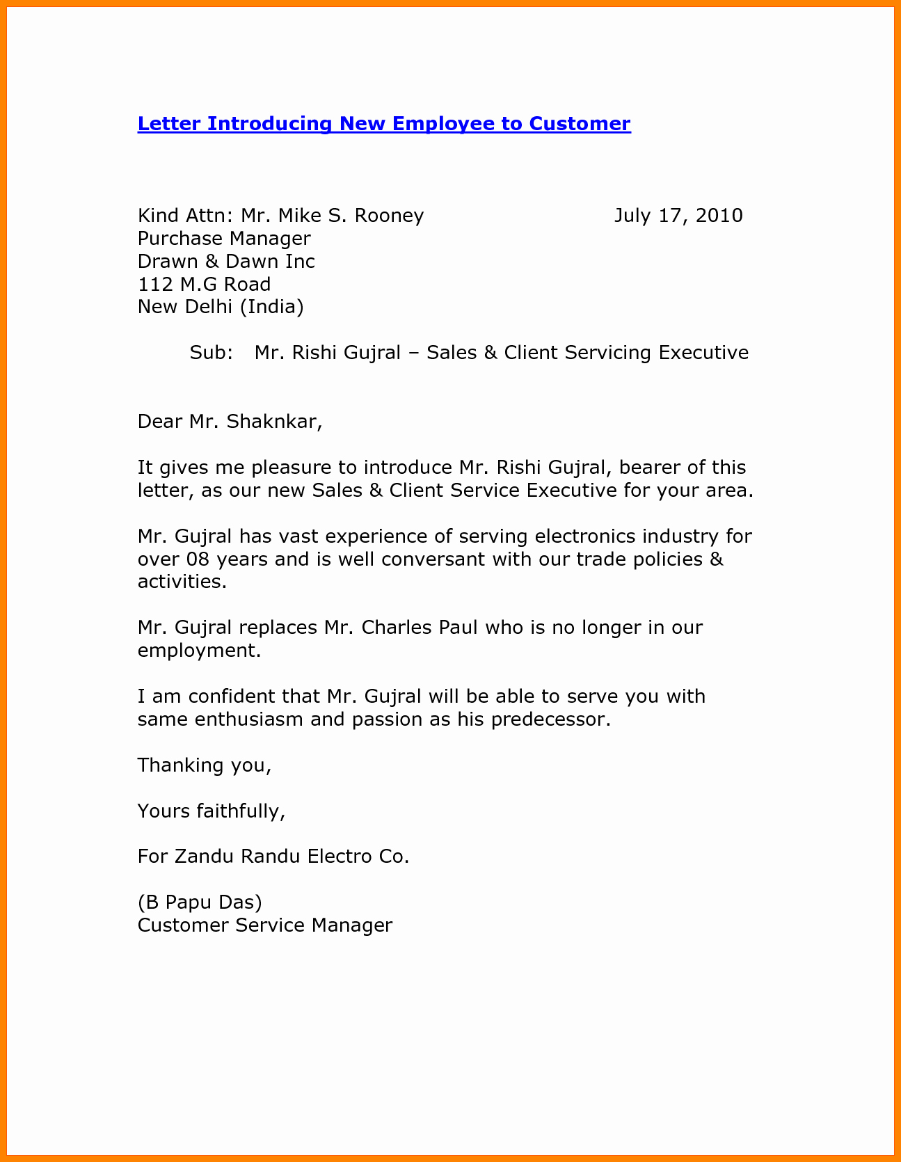 Introductory Letter for Employee Fresh 8 Self Introduction Email Sample for New Employee