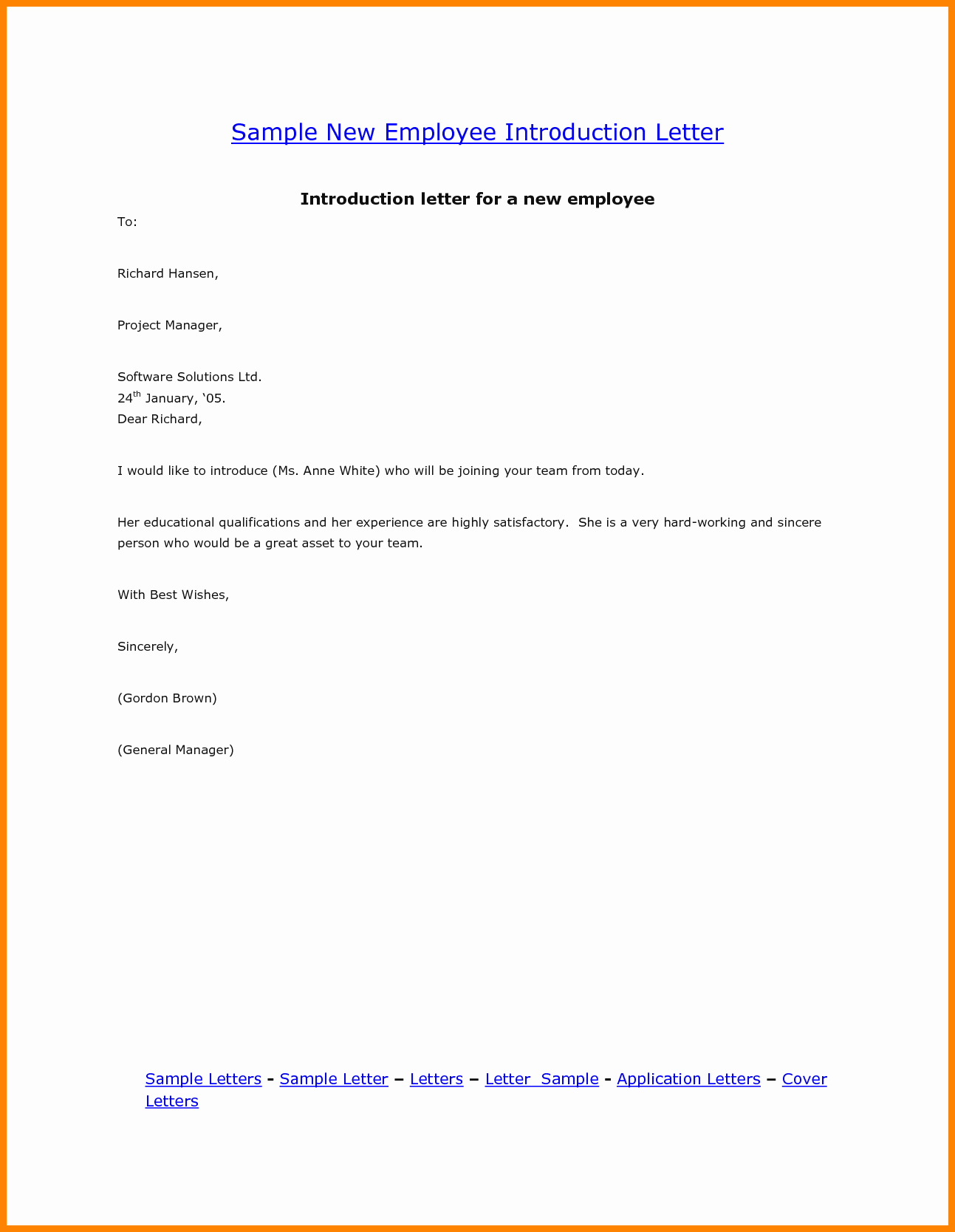 Introductory Letter for Employee Luxury 8 Introduction Letters for Employment