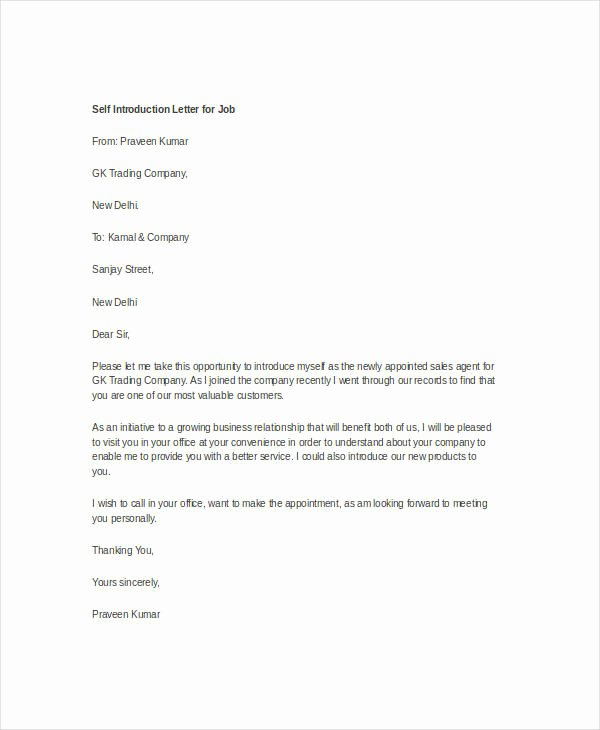 Introductory Letter for Employee New Letter Introduction Self Letter Of Introduction