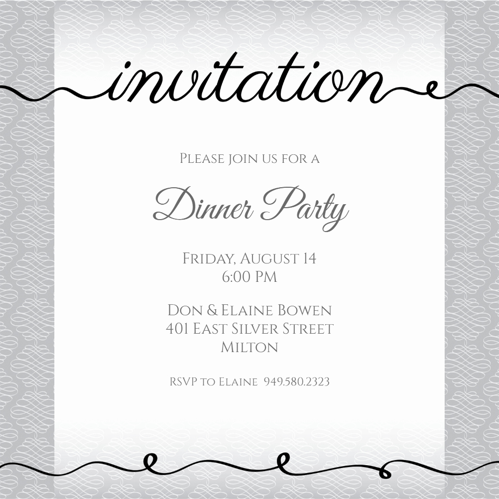 Invitation Message for Dinner Inspirational Ribbon Writing Dinner Party Invitation Template Free