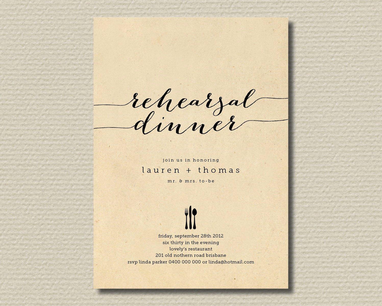 Invitation Message for Dinner Lovely Printable Wedding Rehearsal Dinner Invitation by