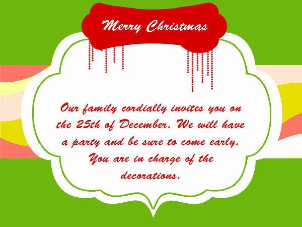 Invitation Message for Dinner Luxury Christmas Party Invitation Wording 365greetings