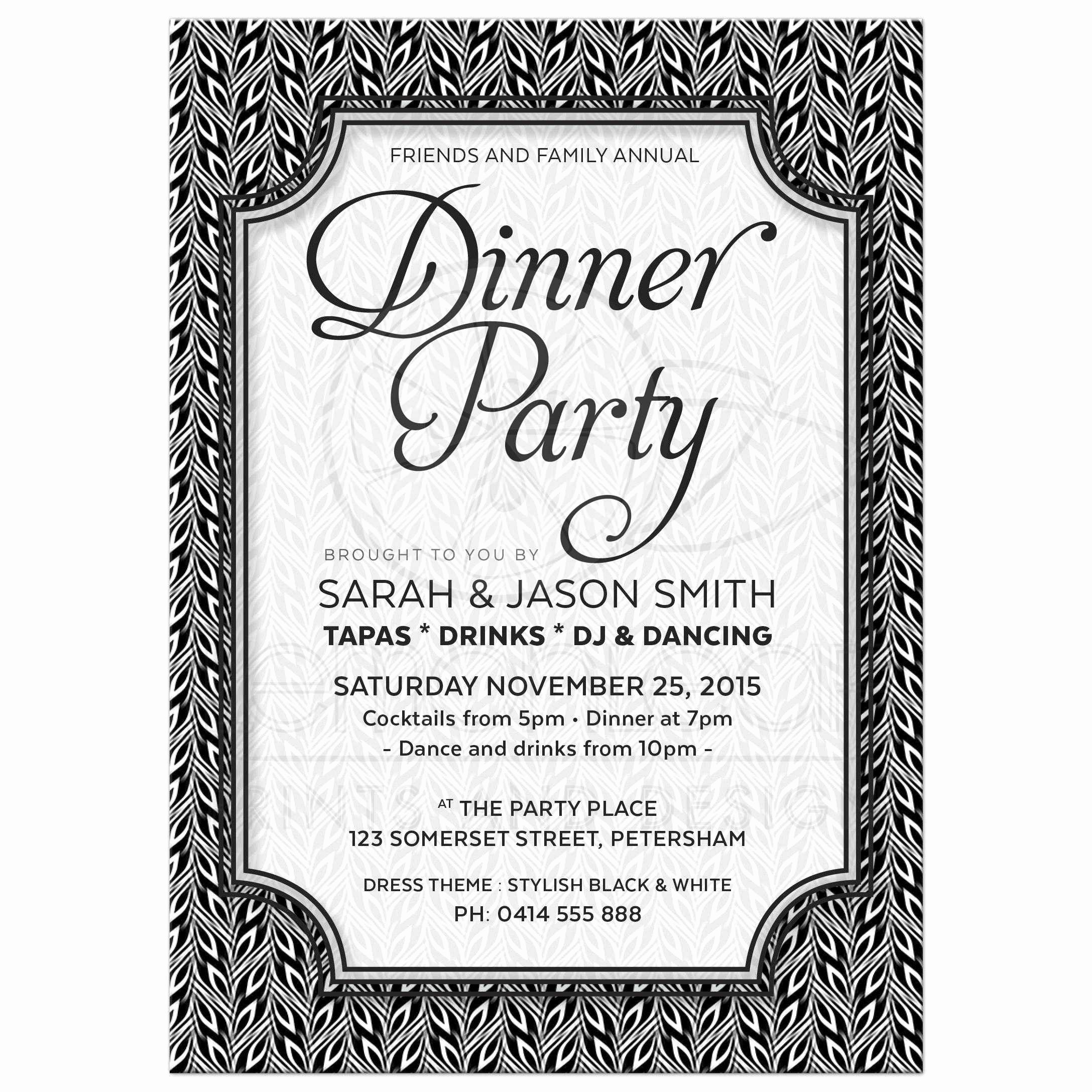 Invitation Message for Dinner New Black and White Dinner Party Invitation