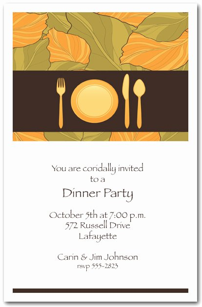 Invitation Message for Dinner New Place Setting & Autumn Leaves Dinner Party Invitations