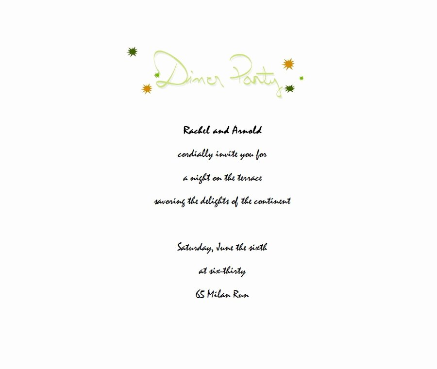 Invitation Message for Dinner Unique Dinner Party Invitation 3 Wording
