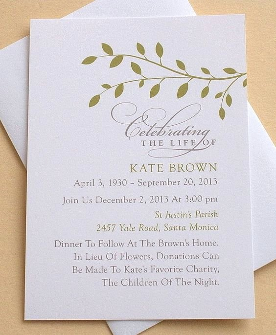 Invitations to A Funeral Beautiful Memorial Invitation with Green Leaves Personalized