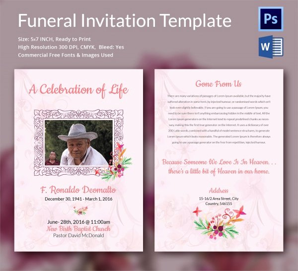 Invitations to A Funeral Beautiful Sample Funeral Invitation Template 11 Documents In Word