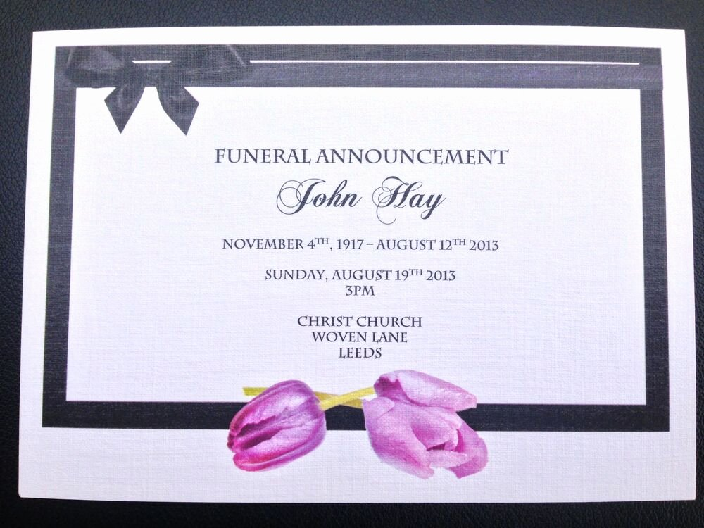 Invitations to A Funeral Best Of 25 X Personalised Funeral Announcement Invitation Cards
