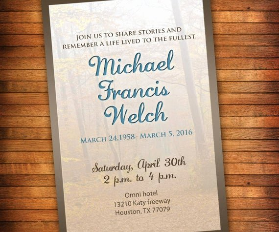 Invitations to A Funeral Elegant Celebration Of Life Invitation Memorial Invitation Outdoors