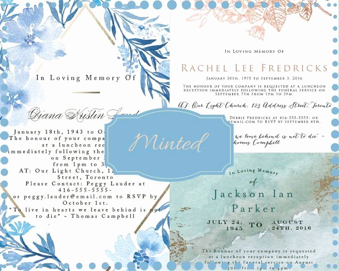 Invitations to A Funeral Lovely 39 Best Funeral Reception Invitations