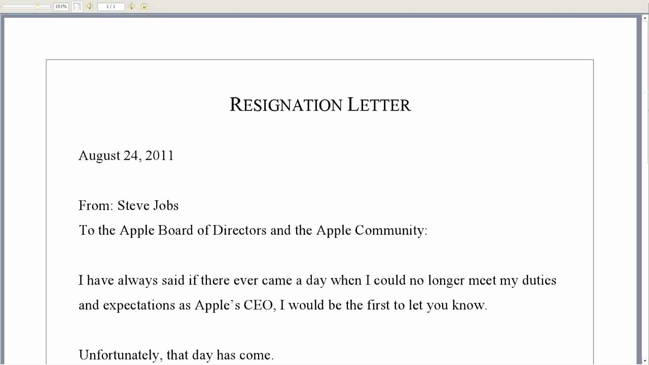Involuntary Resignation Letter Sample Beautiful Steve Jobs Resignation Letter