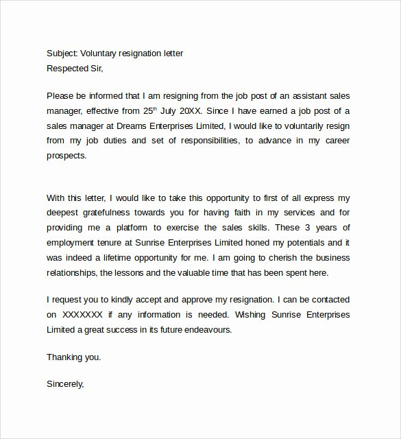 Involuntary Resignation Letter Sample Fresh Sample Resignation Letter format 14 Download Free