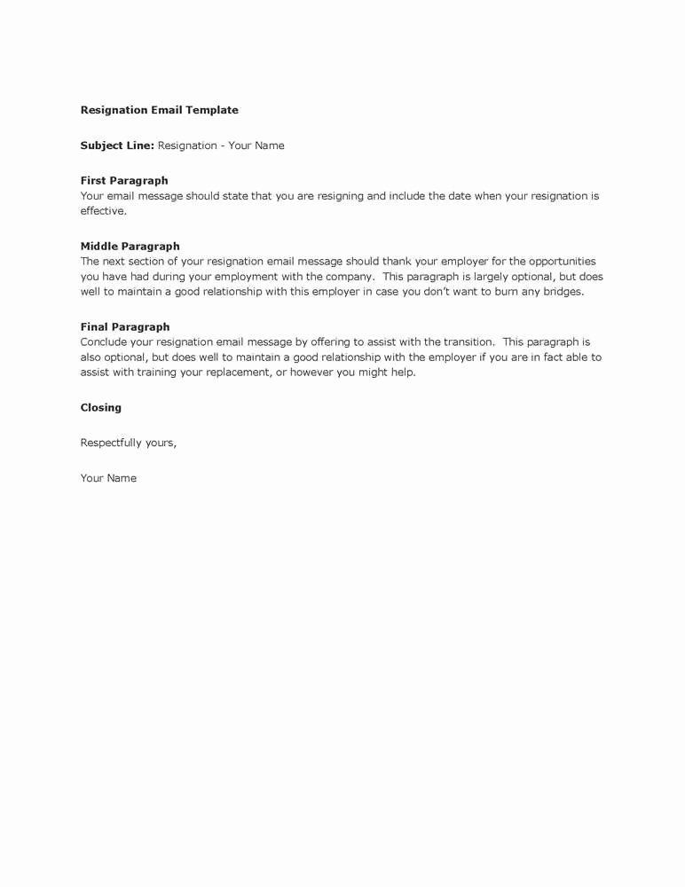 Involuntary Resignation Letter Sample Inspirational Take A Look at Our Free Resignation Letter by Email Example