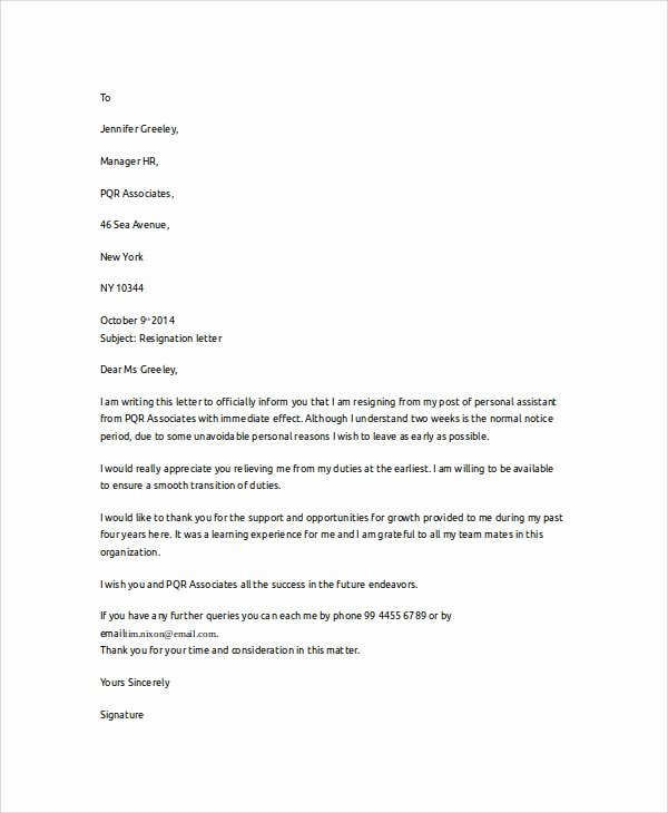 Involuntary Resignation Letter Sample Unique Sample Letter Of Resignation 7 Examples In Word Pdf