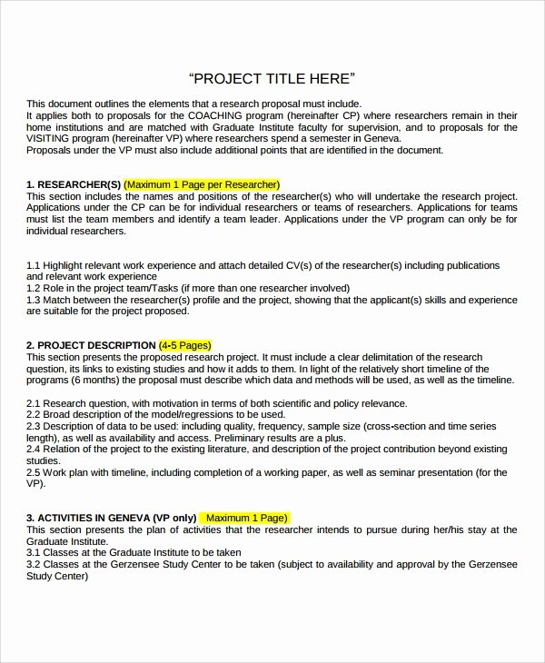 It Project Proposal Sample Inspirational Sample Research Project Template 7 Free Documents
