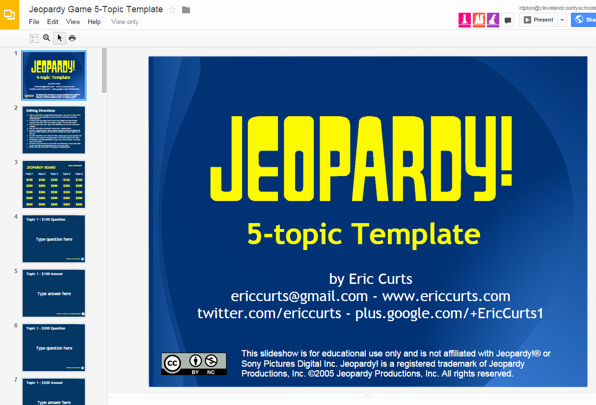 "Jeopardy Game for Classrooms Best Of Great ""jeopardy "" Template for Google Slides"