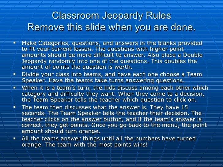 Jeopardy Game for Classrooms Unique Classroom Jeopardy Rules