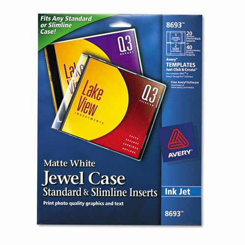 Jewel Case Inserts Template Fresh Avery 8693 Inkjet Cd Dvd Jewel Case Inserts Matte