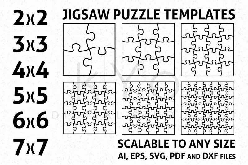 Jigsaw Puzzle Template Generator New Free Square Jigsaw Puzzle Templates Ai Eps Svg Dxf Pdf