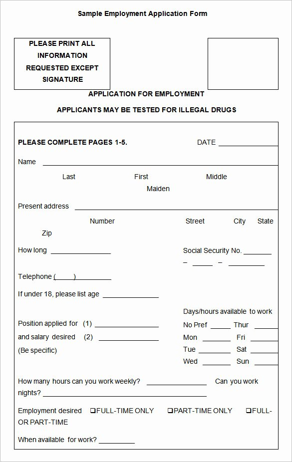 Job Application form Sample Best Of Employment Application Templates – 10 Free Word Pdf