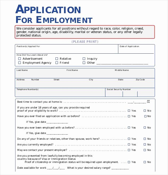 Job Application form Sample format Beautiful Free Employment Application