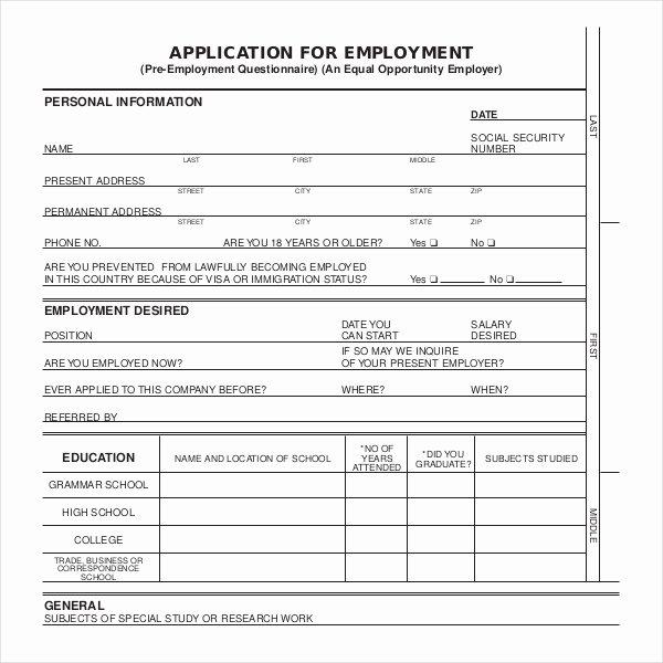 Job Application form Sample format Elegant 4 Employment Application form Templates Pdf