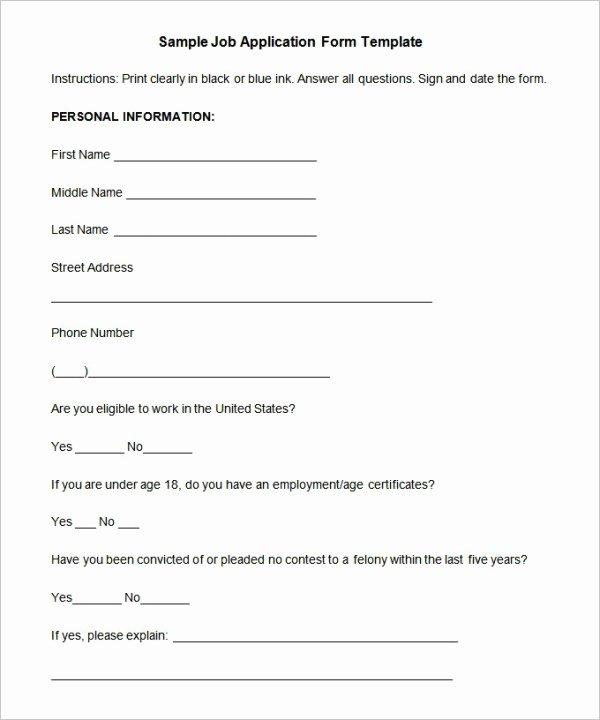 Job Application form Sample format Elegant Simple Job Application