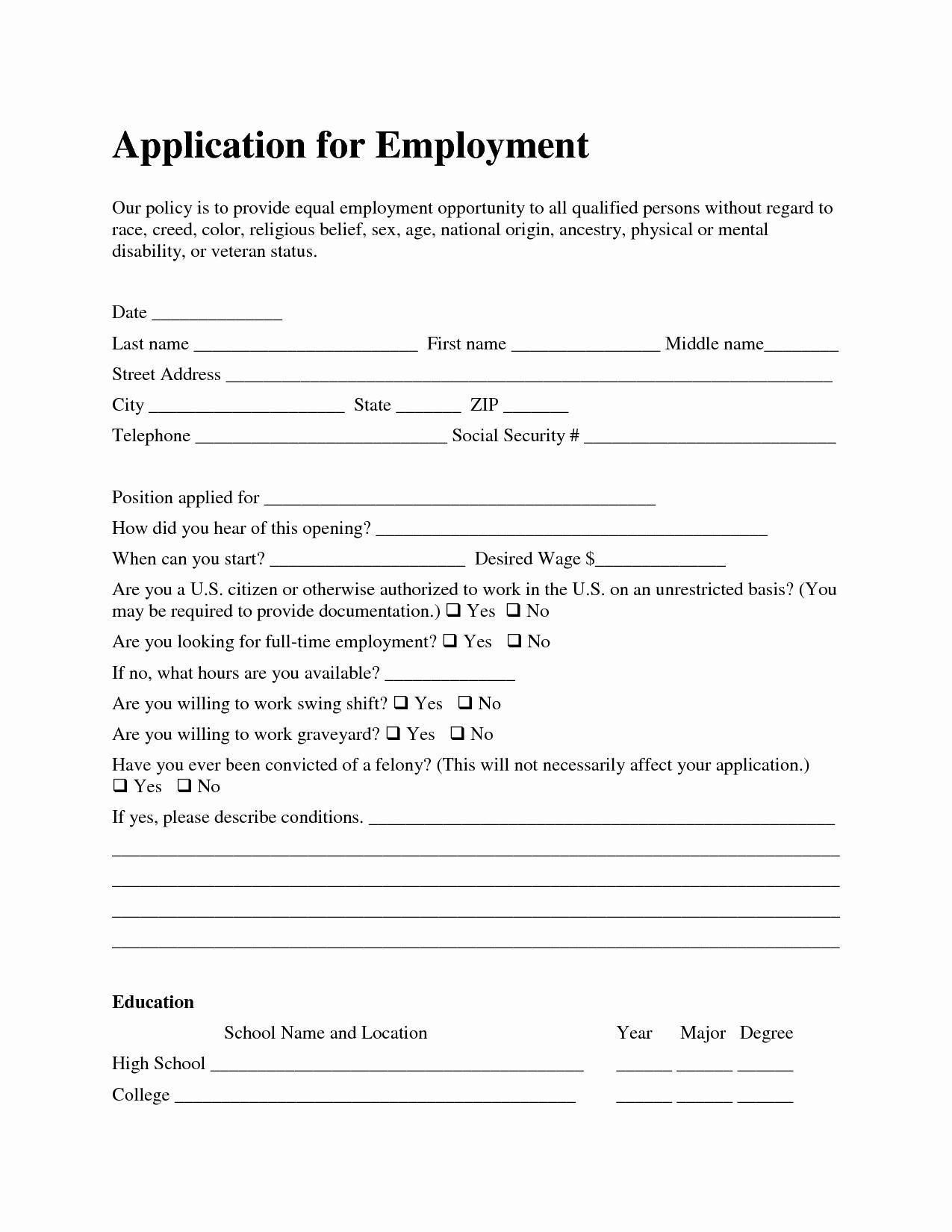 Job Application form Sample format Fresh Template Job Application Azhrzltq