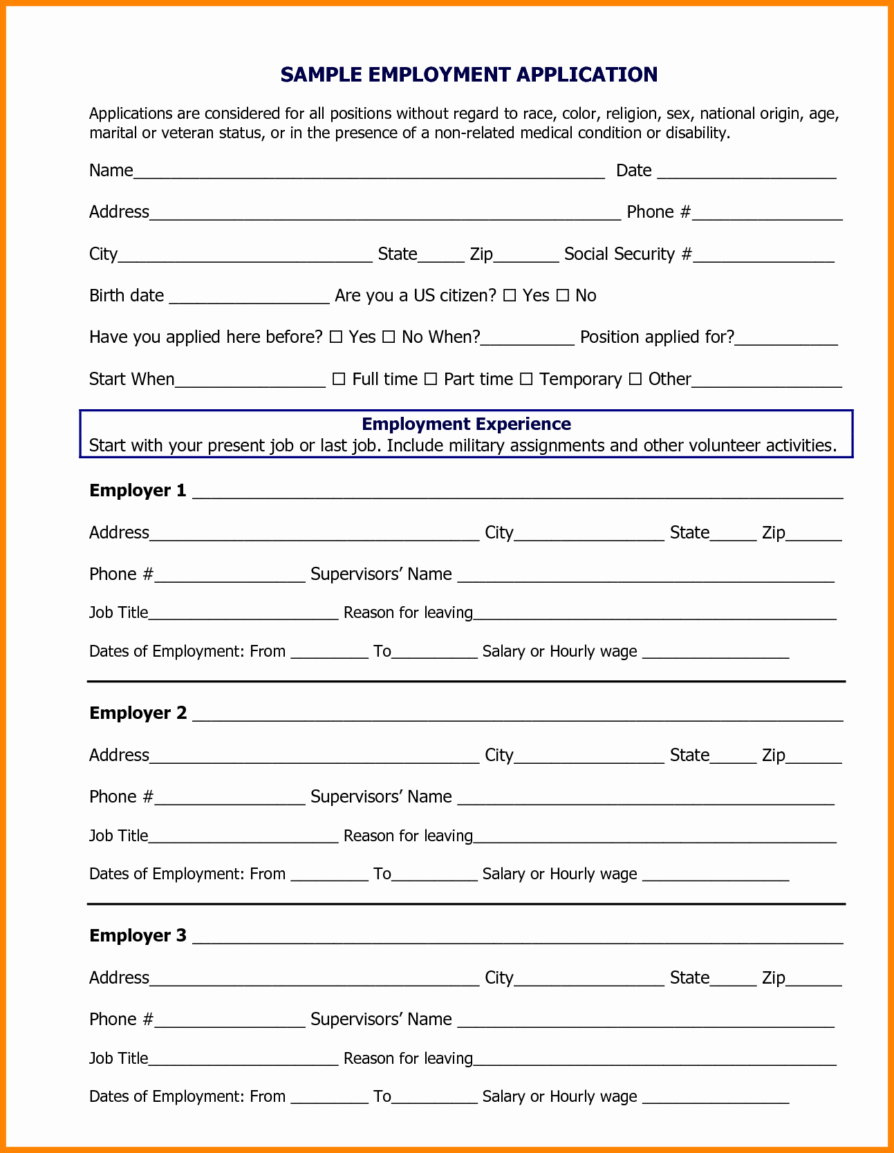 Job Application form Sample format Lovely 9 Sample Employment Application