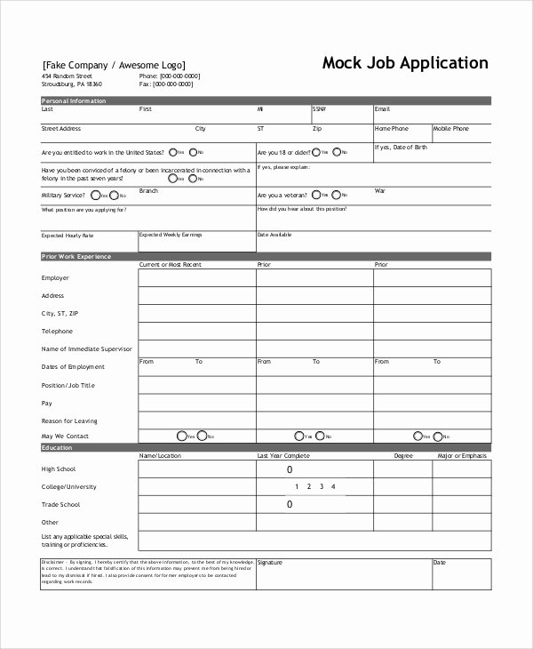 Job Application form Sample format New Sample Job Application form 7 Documents In Word Pdf