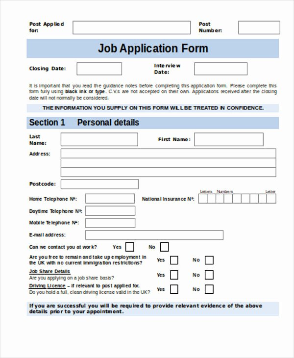 Job Application form Sample Fresh Free 35 Free Job Application form Templates In Pdf