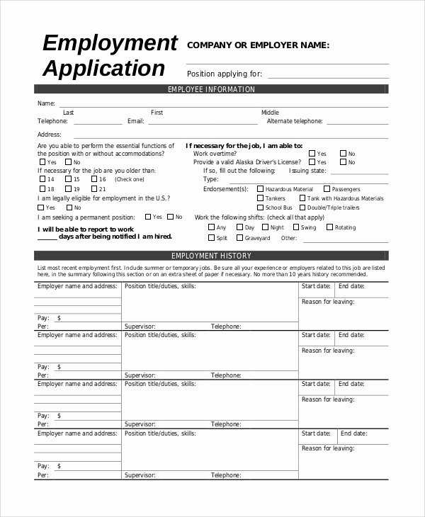 Job Application form Sample Inspirational Sample Employee Application 8 Examples In Pdf Word