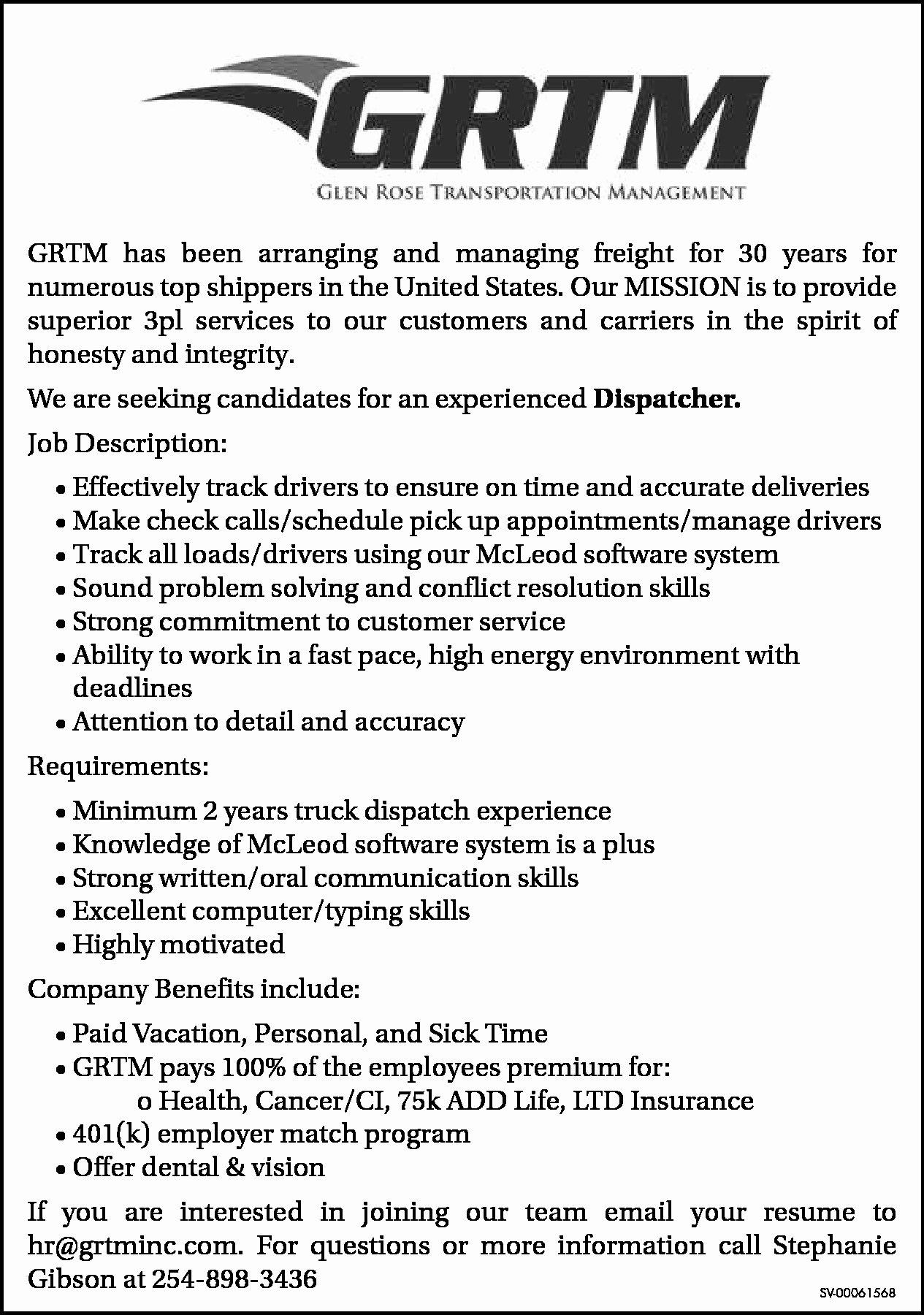 Job Description for Dispatcher Inspirational Glen Rose Transportation Management In Glen Rose Tx 254