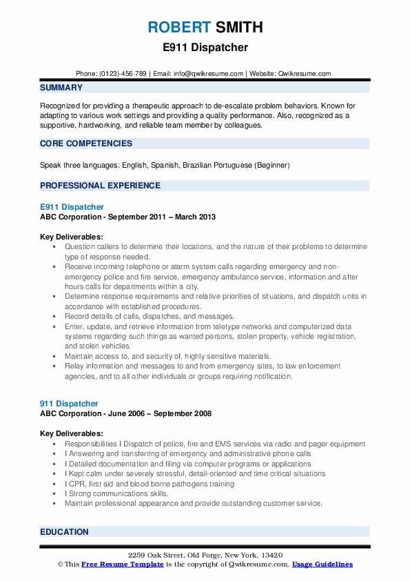 Job Description for Dispatcher Luxury 911 Dispatcher Resume Samples