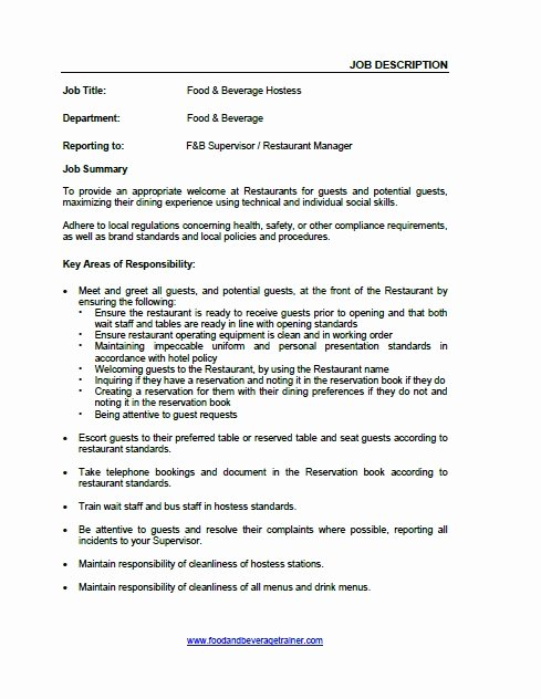 Job Description for Hostess Awesome Food and Beverage Hostess Food and Beverage Trainer