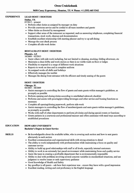 Job Description for Hostess Best Of Host Hostess Resume Samples