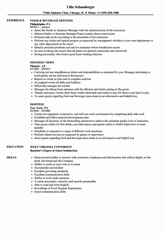 Job Description for Hostess Fresh Hostess Resume Samples