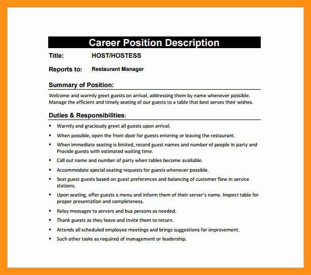 Job Description for Hostess Inspirational Hostess Server Job Description