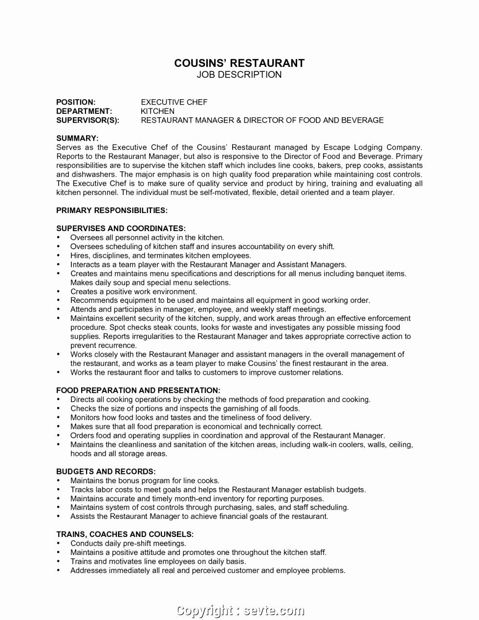 Job Description for Hostess Inspirational Simple Restaurant Description Sample 9 Hostess Job