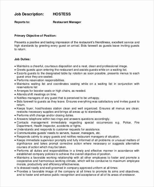 Job Description for Hostess Lovely Sample Hostess Job Description 9 Examples In Pdf Word