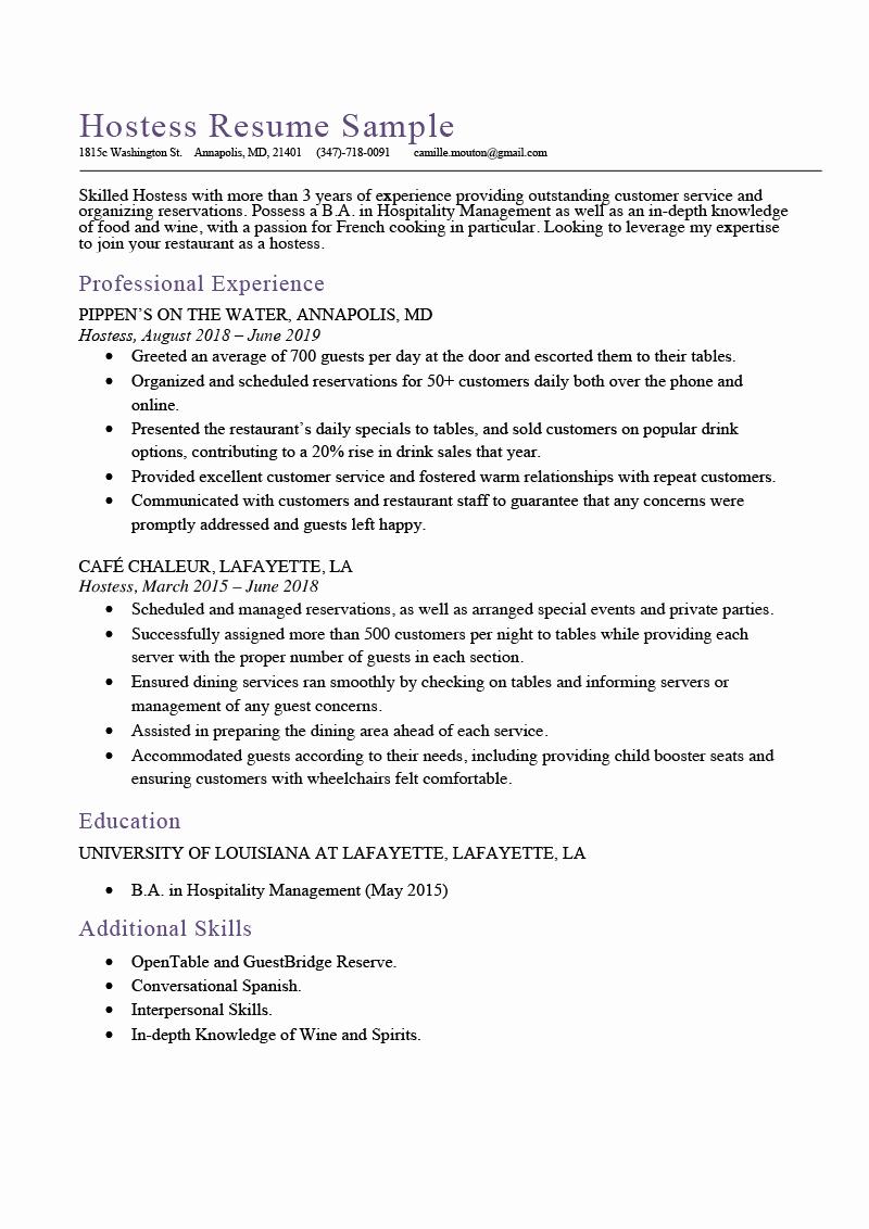 Job Description for Hostess New Hostess Resume Sample & Expert Writing Tips