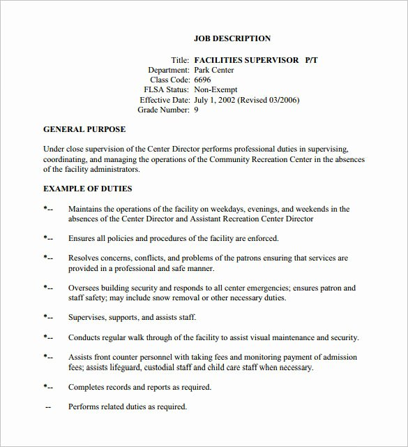 Job Description format Doc Beautiful 10 Supervisor Job Description Templates – Free Sample