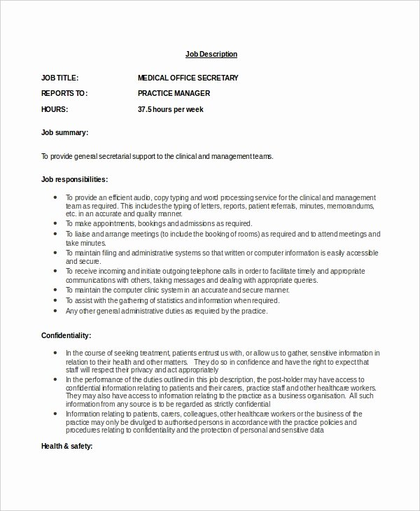 Job Description format Doc Beautiful Secretary Job Description Example 10 Free Word Pdf