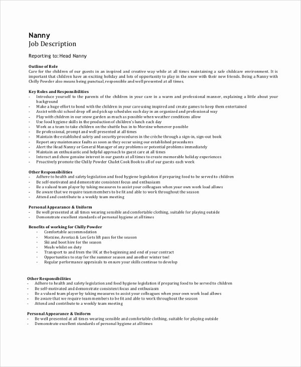 Job Description format Doc Inspirational Sample Job Description 28 Documents In Pdf Word
