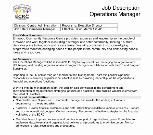 Job Description format Doc New 14 Sample Manager Job Description Templates Pdf Doc