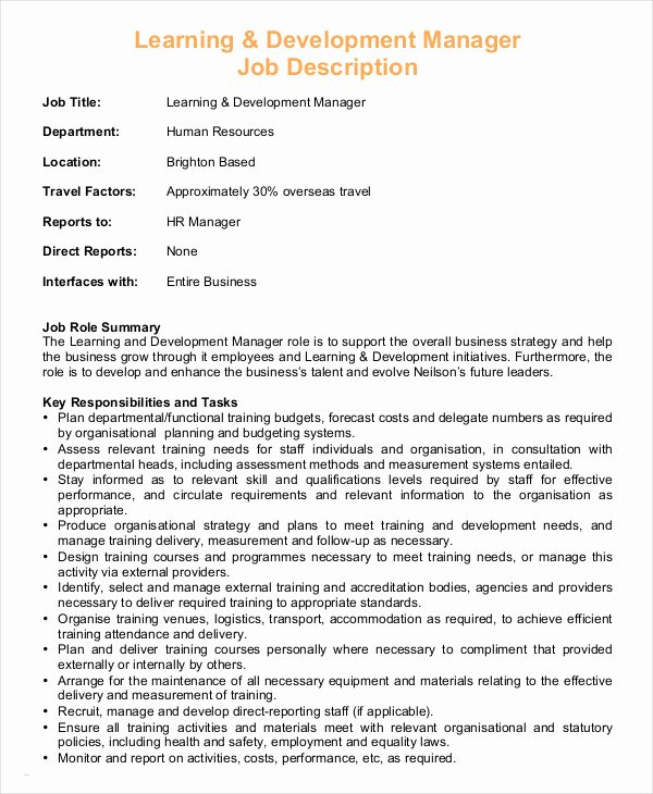 Job Description Human Resources Elegant Hr Manager Job Description 8 Free Sample Example
