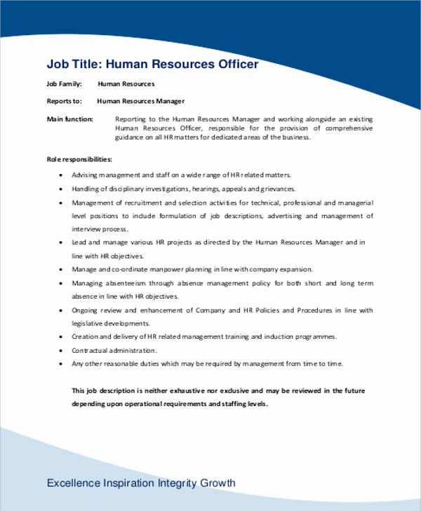 Job Description Human Resources Elegant Human Resource Management Job Description Sample 7